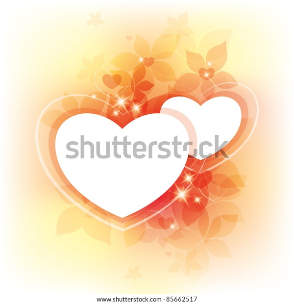 beautiful autumn background with two white hearts