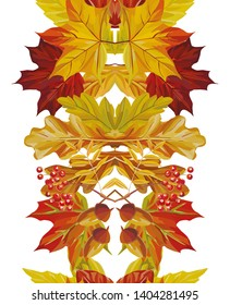 Beautiful autumn composition mirror style from maple, ashberry, acorn, oak leaves watercolor ribbon on the white background