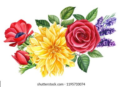 beautiful autumn flowers on an isolated white background, watercolor illustration, botanical painting, a bouquet of dahlias, anemones, lavender, vanilla, roses