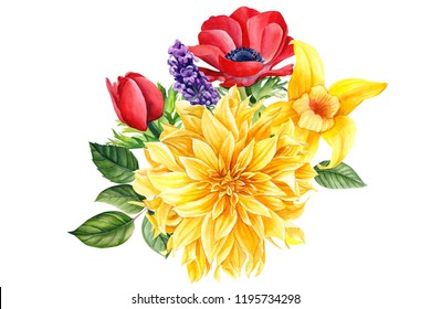 beautiful autumn flowers on an isolated white background, watercolor illustration, botanical painting, a bouquet of dahlias, anemones, lavender, vanilla