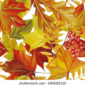 Beautiful autumn maple, ashberry, acorn, oak leaves watercolor painting seamless pattern illustration on the white background