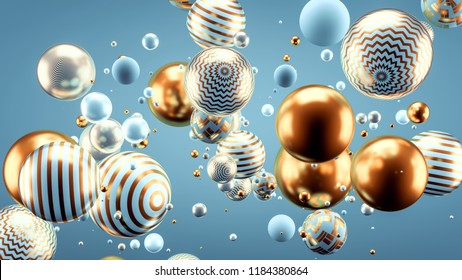 Beautiful background with balls. 3d illustration, 3d rendering.