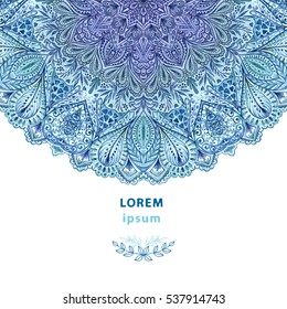 Beautiful background with blue watercolor mandala. Decor for your design.
