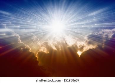 Beautiful background - bright sunshine, light from sky, heaven