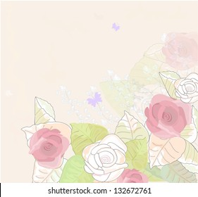beautiful background with roses in vintage style a water color raster