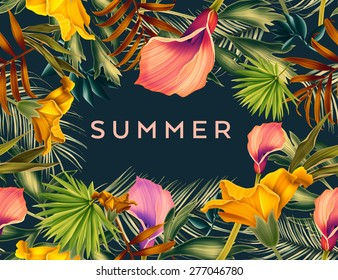 Beautiful background with tropical flowers and palm leaves, plant and leaf. With space for any text.