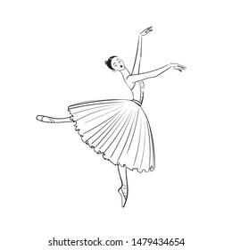 Beautiful ballerina woman against white background.Ballet banner.Line Dancer in an airy skirt,long skirt-tutu.Stock isolated illustration.