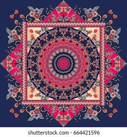 Beautiful bandana  print with mandala - sun and ornamental frame.