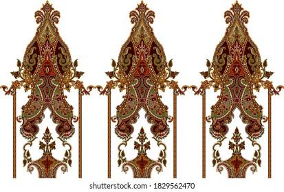 a beautiful baroque floral art motif design on dark background