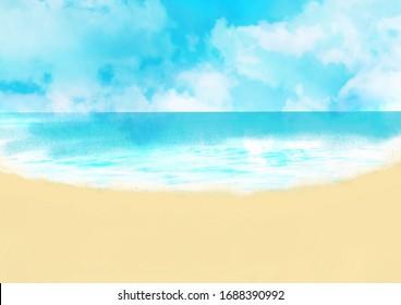 Beautiful beach landscape illustration, summer landscape