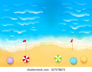 Beautiful beach with waves, rip current illustration