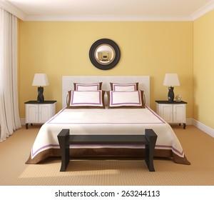 Beautiful bedroom interior. 3d render.