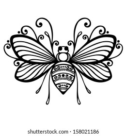 Beautiful Bee, Exotic Insect. Patterned design, Tattoo