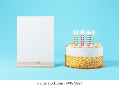 Beautiful birhtday cake on light blue background with blank poster. Anniversary party invitation concept. Mock up, 3D Rendering