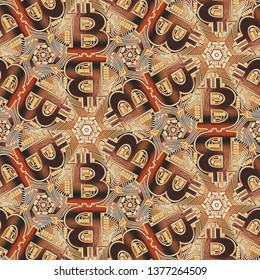 Beautiful Bitcoin Cryptocurrency Seamless Pattern  in Geometric Kaleidoscope Abstract Texture  in Gold Color for Background, Backdrop, or Wallpaper.