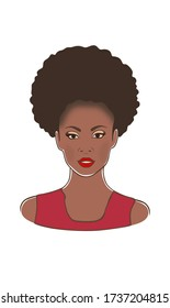 Beautiful black African American pretty woman in red dress fashion illustration .Face drawing of Afro American black lady with curly pony tail puff brown hair on her head, red lips.