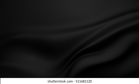 Beautiful black  background with drapery and folds of silk. 3D illustration, 3D rendering.