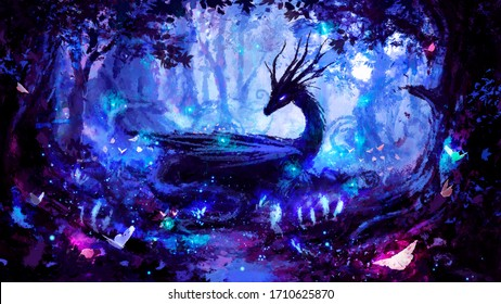 A beautiful black dragon in a night forest, peacefully lying in a clearing, surrounded by many trees, fireflies, and luminous plants, painted with imitation oil. 2d illustration.