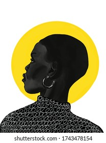 beautiful black girl illustration. african american profile sketch. paint texture. female face. fashion pop art. Women with earring .