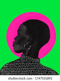 beautiful black girl illustration. african american profile sketch. paint texture. female face. fashion art. Women with earring . Green and pink background