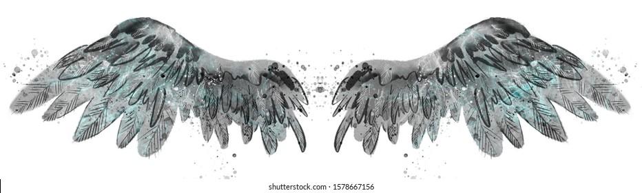 Beautiful black grey watercolor wings