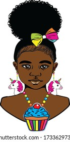 A beautiful black little girl with cute Afro puff colorful ribbon,colorful beaded unicorn earrings and colorful beaded cupcake necklace.