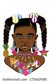 A beautiful black little girl with long braids hairstyle,pineapple,star,and big colorful hair barrettes black magic collar colorful hearts earrings and stylish charm necklace.
