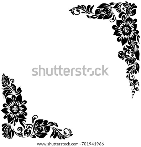 Beautiful Black White Corner Background Floral Stock Illustration