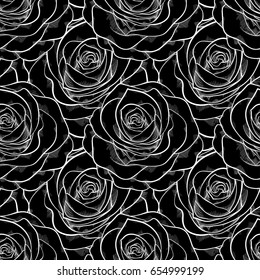 beautiful black and white seamless pattern in roses. background for design for greeting card and invitation of the wedding, birthday, Valentine's Day, mother's day and other seasonal holiday