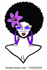 Beautiful Black woman with Afro hairstyle wearing sunglasses purple flower and earring / EBONY AFRO BEAUTY / afro natural beauty woman