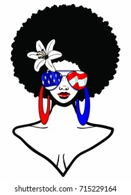 Beautiful Black woman with afro hairstyle wearing a American flag sunglasses flower and red & blue earrings /AFRO AMERICAN BEAUTY
