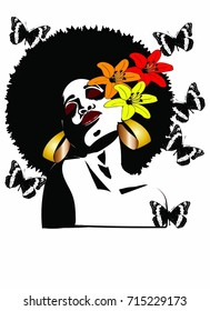 Beautiful black woman with Afro hairstyle flowers butterflies and earrings / MISS AFRO BEAUTY WOMAN / afro butterfly beautiful