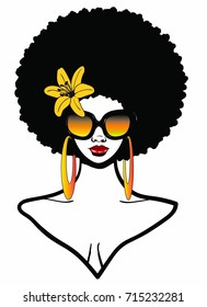 Beautiful Black woman with Afro hairstyle wearing sunglasses yellow flower and earring / EBONY AFRO BEAUTY / afro natural beauty woman 2