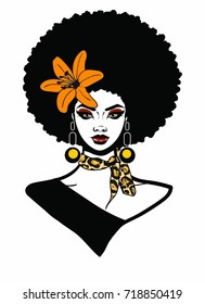 Beautiful black woman with afro hairstyle flower scarf and earrings / AFRO QUEEN / sexy and beauty