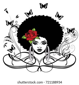 Beautiful black woman with Afro hairstyle rose butterflies swirls and earrings / LOVELY / so beautiful