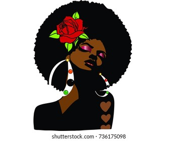 Beautiful black woman with afro hairstyle rose and earrings / afro sexy / miss classy class