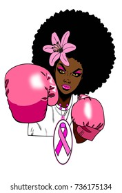 Beautiful black woman with afro hairstyle flower boxing gloves and ribbon necklace / FIGHT GIRL / fight to win