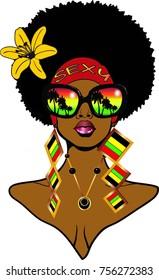 Beautiful black woman afro hairstyle flower bandana sunglasses and earrings