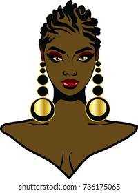 Beautiful black woman with braid hairstyle and earrings / Lovely Braids / I love your braids
