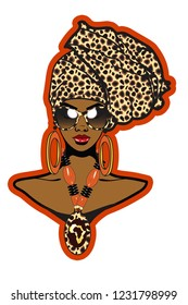 Beautiful black woman with cheetah pattern head wrap ,sunglasses cheetah pattern necklace and large earrings.