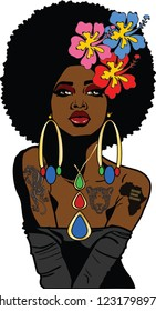 Beautiful black woman with large afro hairstyle,hibiscus flowers,tattoos,large earrings and necklace.