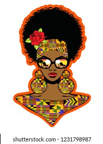 Beautiful black woman with large afro hairstyle,african pattern fashion ,rose,sunglasses and african pattern earrings.