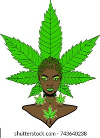 Beautiful black woman with marijuana plant hairstyle braids marijuana earrings and necklace / Weed Girl / let's get high