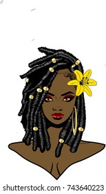 Beautiful black woman with twist braids hairstyle flower and earring / Queen Nubian / Nubian beautiful twist out