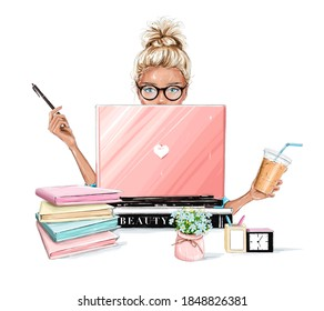 Beautiful blonde hair woman working on laptop computer. Pretty girl sitting at table, holding plastic coffee cup and using pen. Table with flowers, planners, clock, pens.