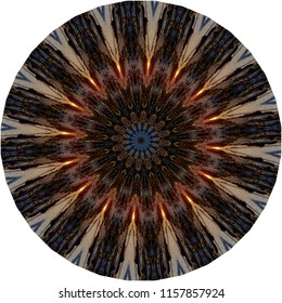 Beautiful blue, brown, orange, gold, metallic mandala with star burst design. Decorative element, ethnic design, web design, anti-stress therapy, meditation
