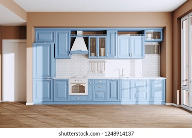 Beautiful Blue Classic Kitchen in new Luxury Home with  Hardwood Floors, and Vintage Appliances 3d render