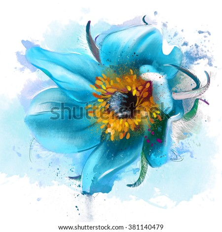 Beautiful blue flower dream grass on stock illustration royalty beautiful blue flower dream grass on a white background with elements of the sketch mightylinksfo