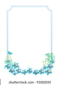 beautiful blue flowers and butterfly background for invitation or any other event.