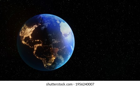 beautiful blue planet Earth in space. europe, Italy, germany, France, Spain. city lights of human activity from space energy of cities. 3d render. USA, Canada, Brazil, Mexico